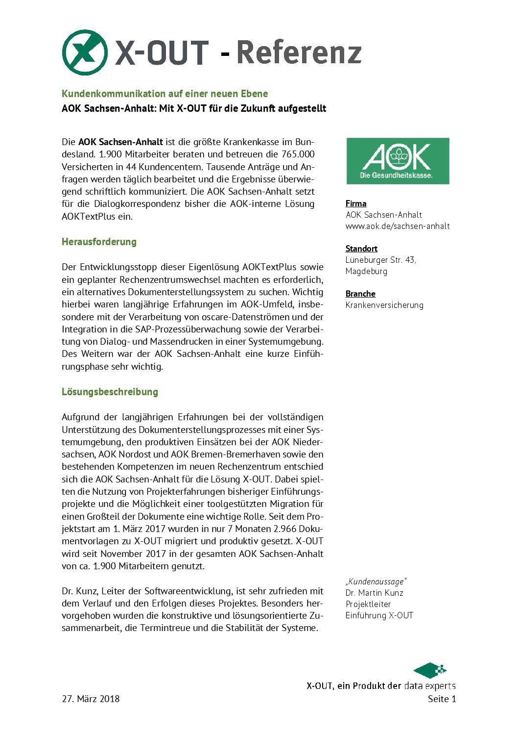 Mit X-OUT ist die AOK Sachsen-Anhalt für die Zukunft sicher aufgestellt.